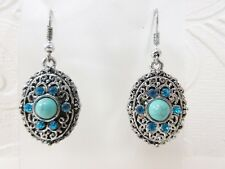 """tone Concho Drop Dangle 1.75"""" Earrings Blue Crystal & Turquoise Cabachon Silver"""