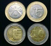 MOLDOVA SET 2 UNC 5 10 LEI 2018 BI-METALLIC COIN UNC