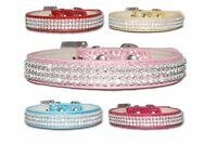 Dog Collars Bling Terrier Pink Blue Puppy Cluster Cute XS Small Diamante Female