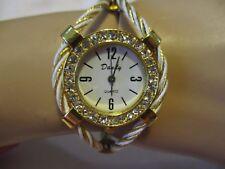 "DANDY White & Goldtone Steel Wire Cuff Watch with Crystal Bezel 7 1/2"" Around"