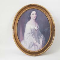 Vintage Print Victorian Southern Belle Oval Ornate Frame Gold Hollywood Regency