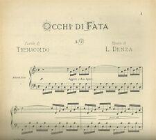 Occhi di Fata di Luigi Denza per Canto e Pianoforte Spartito Ricordi 1947
