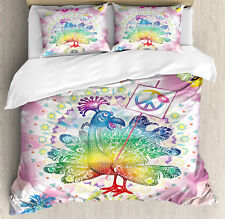 Thanksgiving Queen Size Duvet Cover Set Tropical Turkey with 2 Pillow Shams