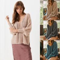 Pullover Sleeves Blouse Jumper Tops Batwing Loose Sweater Knitwear Hollow Women