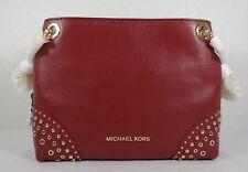 Michael Kors Jet Set Medium Chain Messenger Studded Leather Shoulder in Mulberry