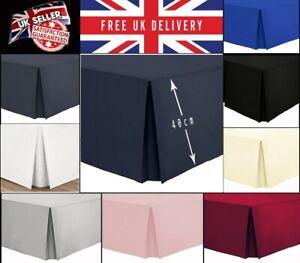 Luxury Easy Care Base valance Plain Dyed 100% Poly Cotton Box Pleated Sheet UK