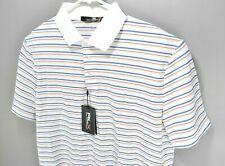 NEW RLX Ralph Lauren Mens Wicking Golf Polo Shirt White Stripes Size L $90