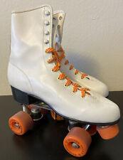 Vintage 70/80s White Roller Derby Skates Size 10 Orange Urethane 28 Wheels Women