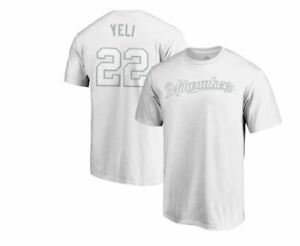 """Christian Yelich """"Yeli"""" Majestic Name & Number 2019 Players' Weekend T-shirt NEW"""
