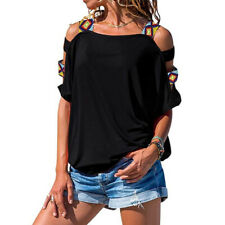 Women Summer Cold Shoulder Short Sleeve Loose T Shirt Casual Solid Tunic Blouse