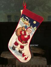 Christmas Santa Needlepoint Stocking NWT