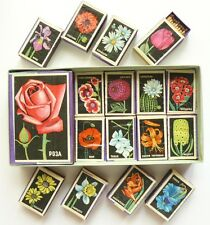 Vintage USSR Russian Matchboxes FLOWERS Set of 17 NEW