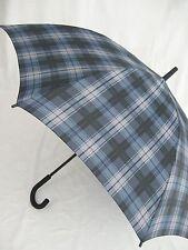 ESPRIT Stockschirm karierter Regenschirm  blau/grau Automatik Herrenschirm