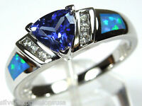 Trillion Cut Tanzanite & Blue Fire Opal Inlay 925 Sterling Silver Ring Sz 6-9