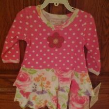 Baby Lulu Size  6 month Pink Polka Dot And Floral Dress NWT
