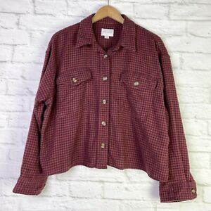 American Eagle Cropped Oversized Plaid Flannel Button Down Women's XL