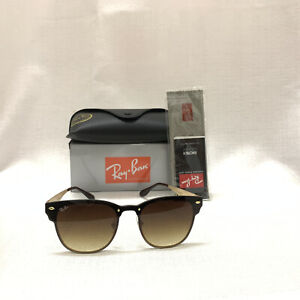 Ray-Ban Blaze Clubmaster Sunglasses RB3576N Gold Frame Brown Gradient Lens 47mm