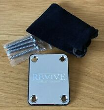 More details for personalised engraved chrome guitar neck plate with screws plus protection plate