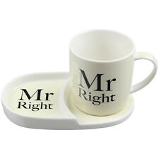 Mr Right Tea Coffee Cup Mug Coaster Plate Snack Breakfast Serving Dining Set New