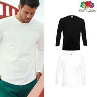 Fruit of the Loom Super Premium Long Sleeve Plain Cotton Tee Casual Top Shirt