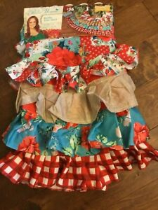 """Pioneer Woman 48"""" Round Ruffle Christmas Tree Skirt Special Holiday Edition New"""