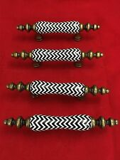 4 Black and White Ceramic & Metal Drawer Pulls Zigzag Pattern Cabinet Handles