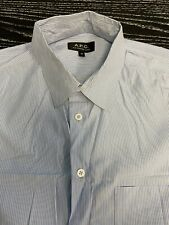 APC A.P.C. Rue Madame Mens White/Blue Striped Button Up Shirt Size Medium