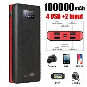 100000mAh Powerbank Tragbare Zusatzakku Batterie Ladegeräte für alle Handys DE