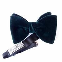 HENRY BUCKS Melb London Emerald Green Large Velvet Bow Tie Adjustable Vintage