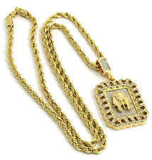 Mens Gold Plated Cuban Style Hip-Hop Pharoah Pendant Rope Chain Necklace D320