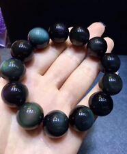 18mm Natural Rainbow Black Obsidian Gemstone Round Beads Stretch Bracelet