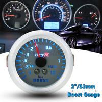 """52mm 2"""" Manomètre Jauge Pression Turbo Boost Vacuum Numérique Blue BAR 12V Auto"""