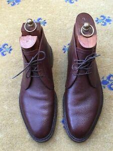 John Lobb Ltd Bespoke Mens Shoes Brown Leather Boots UK 9 US 10 EU 43