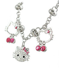 "Hello Kitty charm bracelet Silver Tone Pink Clear Crystals 8"" Long Adjustable"