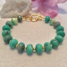 Handmade Genuine Gemstone Jewellery Chrysoprase 925 sterling Bracelet.