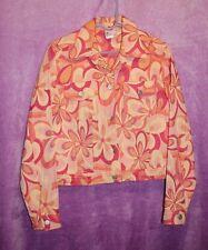⚜Woman's Woven Button down Jacket by 3 Palms size M~Orange/yellow floral