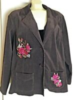 Women's Plus Size Coudory Blazer, Jacket  Size 3X Color Brown With Flower Print