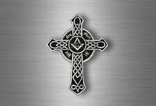 Sticker Voiture Motard Moto Croix Celtique Maçonnique équerre Compas Franc-maçon