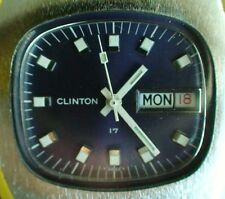 VINTAGE 1970'S CLINTON MENS 17 JEWELS SWISS MADE WATCH RUNS GOOD CONDITION (##)