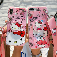 Girls' Cute Hello Kitty Case Cover for iPhone XS Max XR 6S 7 8 Plus Airbag Strap