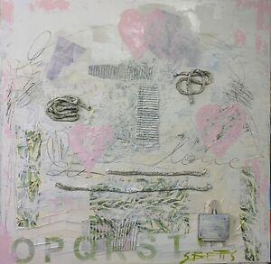 SUE BETTS Abstract landscape painting 90cmx90cm 'Eternal Love'