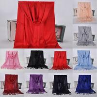 Women's Wrap Neck Stole Long Scarfs Pashmina Tassel Winter Warm Blanket Scarves