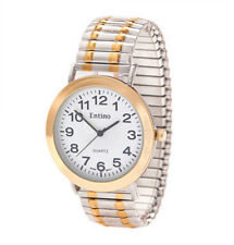 Unisex Two Tone Silver & Gold Expander Watch Bracelet Analog Japanese Quartz