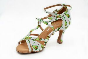 womens ballroom dance shoes with avocado print. 2.5 Inch heel, Sizes 6-11 avail