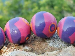 Vintage 80's Groovy Wooden Wood Painted Beads 20mm DIY Jewelry Making Crafts