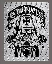 """Aluminum diamond plate """"Choppers"""" metal sign- 12""""x18"""" - Free Shipping"""