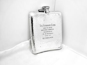 1922 HAMMERED FINISH STERLING SILVER 7/16 PT. POCKET/PURSE FLASK,APAWAMIS CLUB