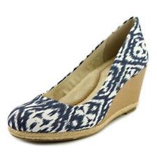 Zapatos de tacón de mujer plataformas de color principal azul de lona