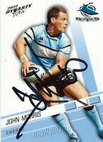 ✺Signed✺ 2012 CRONULLA SHARKS NRL Card JOHN MORRIS