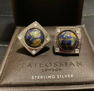 Tateossian Globe Cufflinks Sterling Silver w/ Semi Precious Lapis MOP w/ box